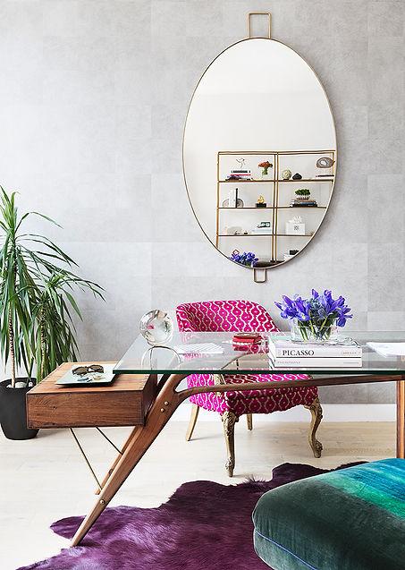 Glass desk, hair-on-hide rug, modern home office, luxe home office, woman home office, modern work space