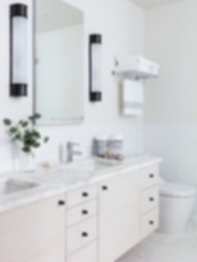 Brooklyn interior design, cozy calm home, feng shui New York City, Catherine Brophy interior design, transform your home, transform your space, oil rubbed bronze hardware, Calacatta gold marble countertop, whitewashed wood vanity, double vanity, master bath
