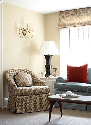 Traditional swivel chair, paisley Roman shade, Brooklyn brownstone, Traditional interior design