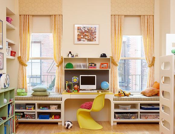 Children's bedroom storage, built-in window seats, Modern Tribeca loft