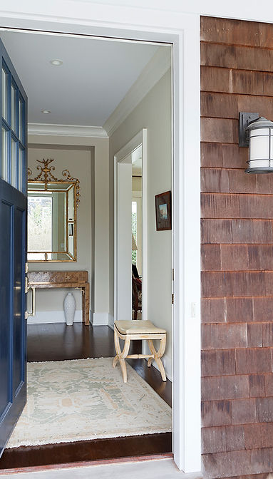 Blue door, traditional foyer, cedar shingle home