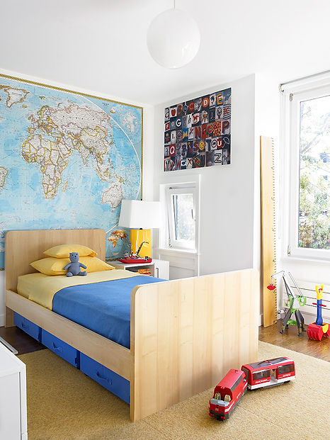 Midcentury modern boy's bedroom, Brooklyn boy's bedroom