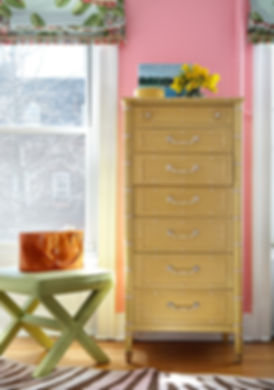 Classic linen X bench, yellow faux bamboo lingerie chest, Brooklyn brownstone, Traditional interior design
