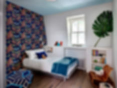 Galbraith and Paul wallpaper, kid's bedroom, color on ceiling