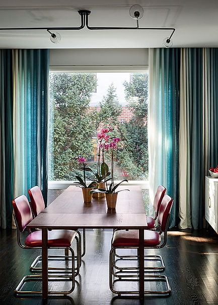 Ombre drapery, pink leather Cesca chairs