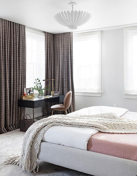 Brooklyn interior design, cozy calm home, feng shui New York City, Catherine Brophy interior design, transform your home, transform your space, calm bedroom, relaxing bedroom, Rogers & Goffigon, modern drapery panels, sheer roman shades