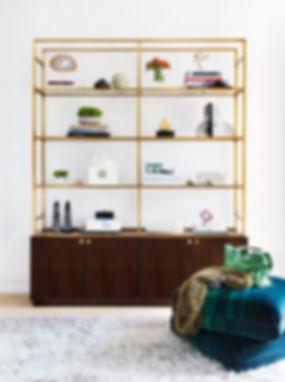 Brass etagere, multi-colored ombre velvet, double-layer pouf