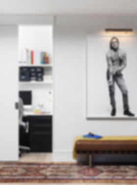 Brooklyn interior design, cozy calm home, feng shui New York City, Catherine Brophy interior design, transform your home, transform your space, Iggy Pop, Iggy plays guitar, leather bench, hidden home office, home office