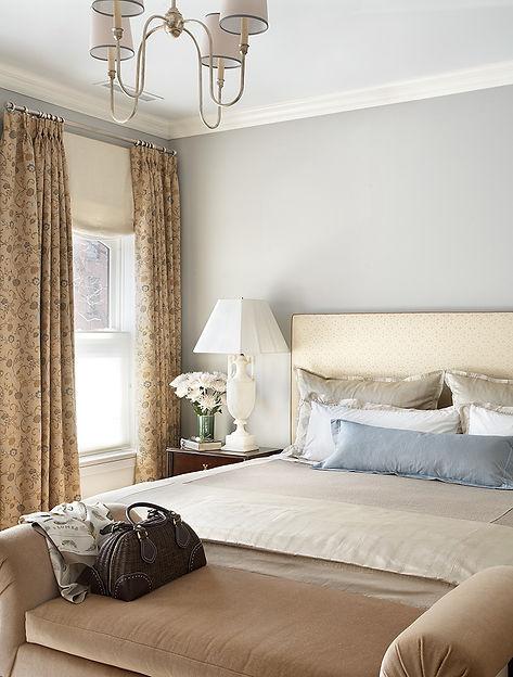 Calm bedroom, gray bedroom walls, Brooklyn brownstone, Traditional interior design