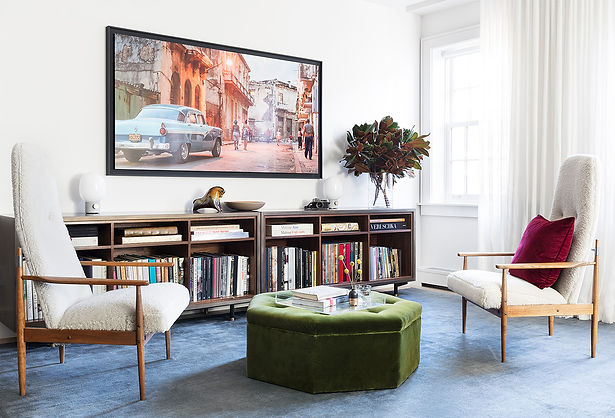 Brooklyn interior design, cozy calm home, feng shui New York City, Catherine Brophy interior design, transform your home, transform your space, Décor NYC vintage midcentury chairs, Peter Hvidt midcentury chairs, The Rug Company blue mohair rug, Photo of Cuba