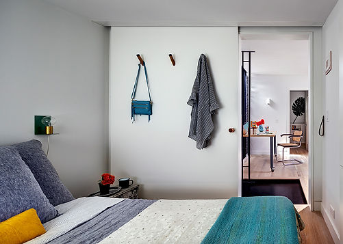 Small guest room, modern coat hooks