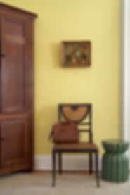 Still life oil painting, rustic wood cabinet, regency Sheraton side chair, Brooklyn brownstone, Traditional interior design