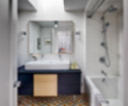 Modern bathroom, trough sink