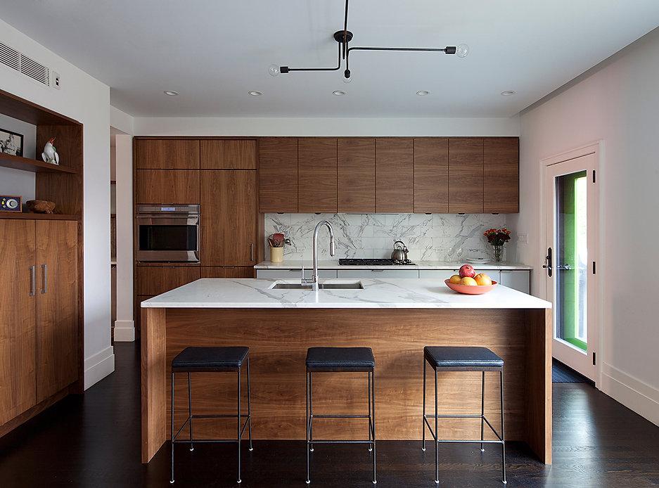 Modern kitchen, ebonized floor, Olampia custom and ceiling light fixture, custom blackened steel counter stools