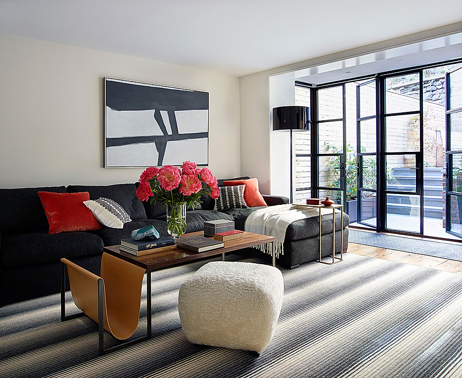 Calm family room, indoor/outdoor family room, Missoni area rug