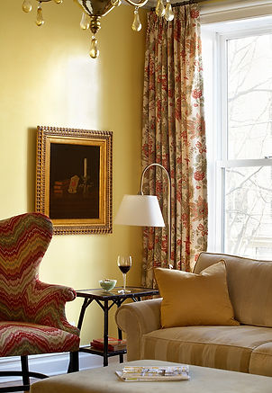 Traditional floral drapery, yellow waxed walls, Brooklyn brownstone, Traditional interior design