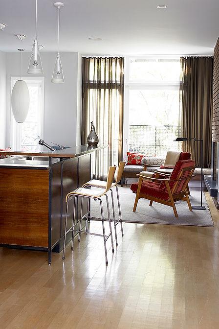 Midcentury modern Brooklyn row house, walnut kitchen island