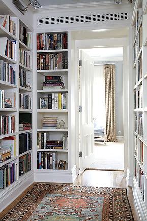 library vestibule, hallway bookshelves, Brooklyn brownstone, Traditional interior design