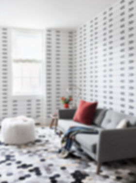 Brooklyn interior design, cozy calm home, feng shui New York City, Catherine Brophy interior design, transform your home, transform your space, Hair-on-hide rug, Arrow wallpaper, Brooklyn family room