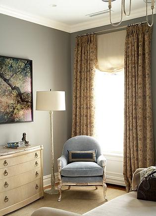 Silver leaf swan chair, marble top dresser, calm bedroom corner, Brooklyn brownstone, Traditional interior design