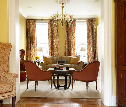 Vintage bamboo framed chairs, red patterned drapery, Brooklyn brownstone, Traditional interior design
