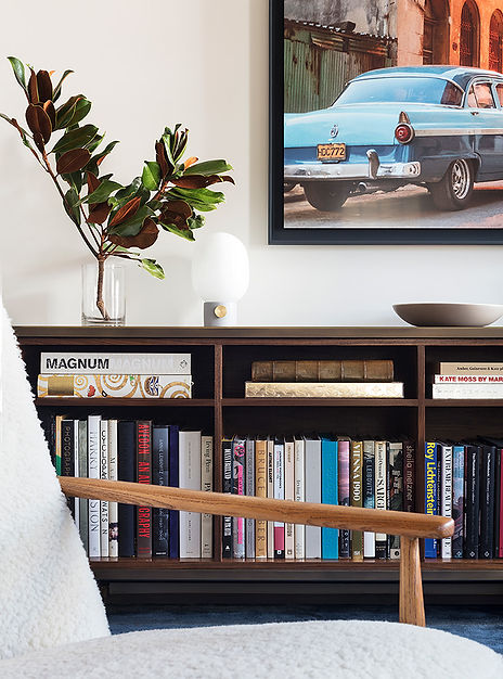Brooklyn interior design, cozy calm home, feng shui New York City, Catherine Brophy interior design, transform your home, transform your space, walnut bookshelves, walnut and resin casepiece, book storage, Wüd furniture