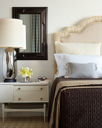 Mercury glass lamp, white lacquer bedside table, Modern Tribeca loft