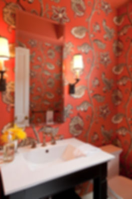 Red floral wallpaper, traditional powder room