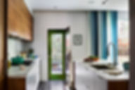 Green door, modern kitchen