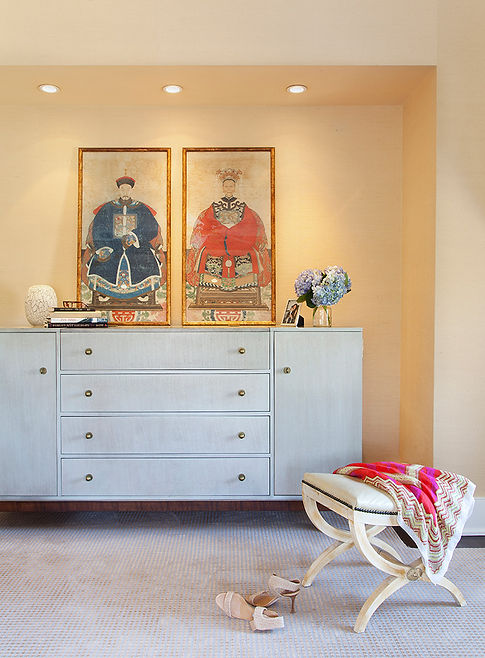 Hickory chair dresser, Asian prints, traditional bedroom