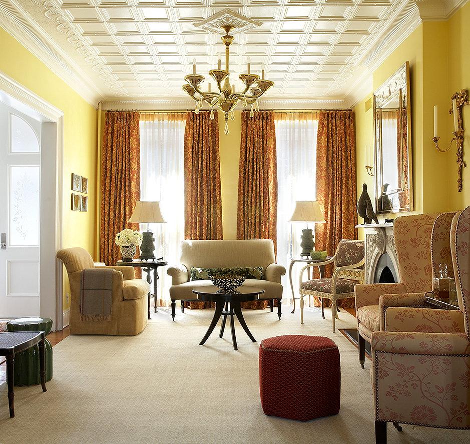 Vintage Murano glass chandelier, yellow living room, original tin ceiling, Brooklyn brownstone, Traditional interior design