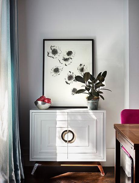 Kitchen storage furniture, floral artwork, ombre drapery panels
