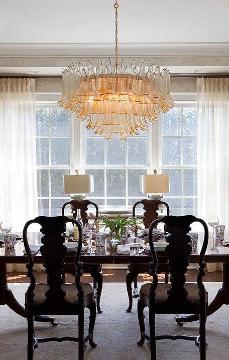Murano glass chandelier, traditional dining room