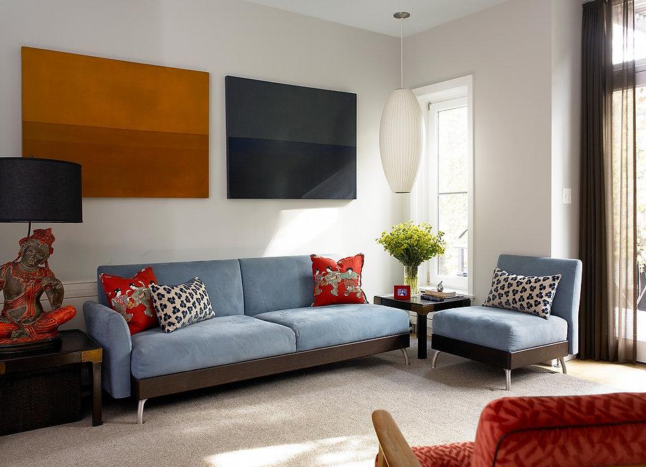 Large Asian lamp, Modern Brooklyn living room