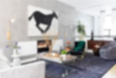 Loft-style Brooklyn townhouse living room, vintage Renzo Rutili credenza, Kelly Wearstler swivel chair