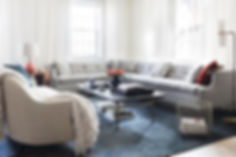 Brooklyn interior design, cozy calm home, feng shui New York City, Catherine Brophy interior design, transform your home, transform your space, Abel BDDW sectional, vintage leather small sofa, The Rug Company blue mohair rug, Wüd furniture resin cocktail table, white linen drapery