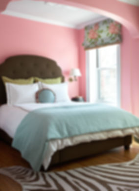 Pink teenage girl's bedroom, Dorothy Draper Roman shade, wool zebra rug, Brooklyn brownstone, Traditional interior design