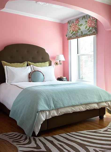 Pink teenage girl's bedroom, Dorothy Draper Roman shade, wool zebra rug, Brooklyn brownstone, Traditional interior design