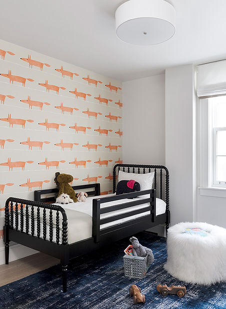 Brooklyn interior design, cozy calm home, feng shui New York City, Catherine Brophy interior design, transform your home, transform your space, whimsical wallpaper, kid's bedroom, Zoffany Mr. Fox wallpaper