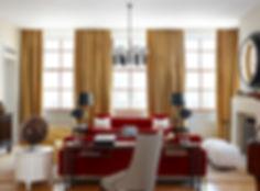 Knoll style red velvet sofas, Modern Tribeca loft