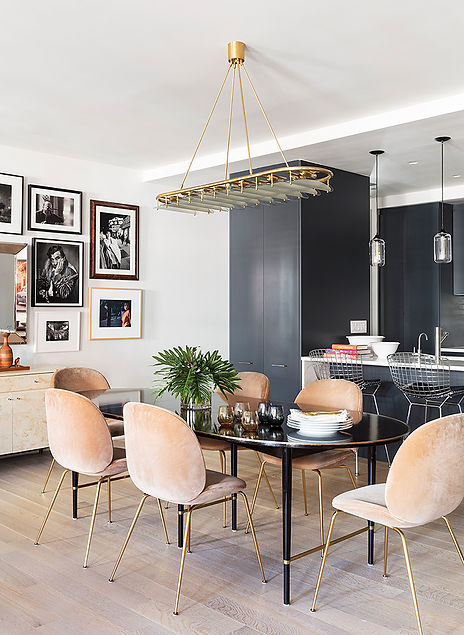 Brooklyn interior design, cozy calm home, feng shui New York City, Catherine Brophy interior design, transform your home, transform your space, Gubi dining chairs, vintage midcentury dining table, midcentury modern chandelier, light natural oak floors