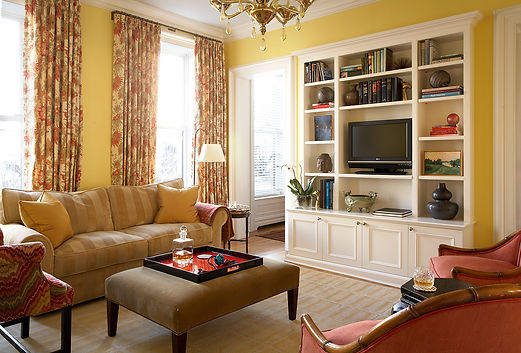Built-in library millwork, built-in library shelving, back parlor, Brooklyn brownstone, Traditional interior design