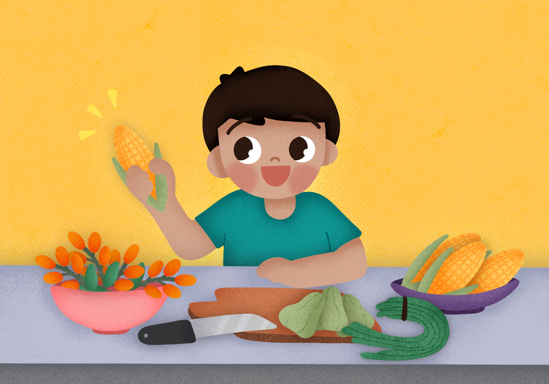 Romi is preparing the food ingredients