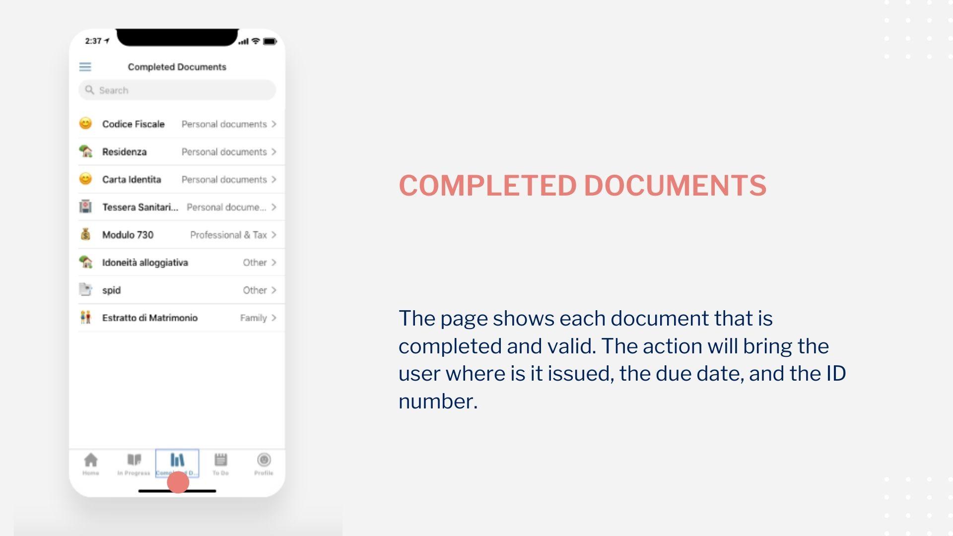 Startnieri screen completed documents