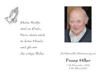 Trauer um Franz Hiller