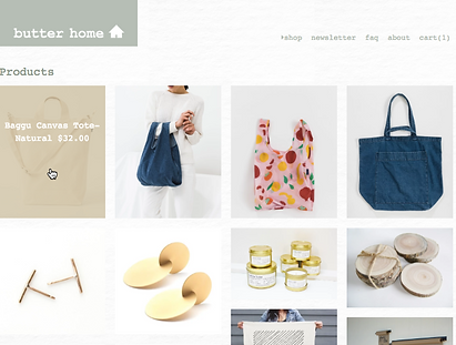 Image of Butter Home shop all page - desktop view