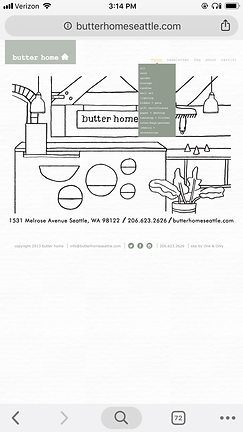 Image of Butter Home shop homepage-mobile view, shop menu expanded