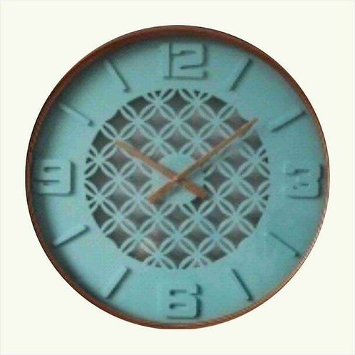 Blue Hanging Wall Clock Brown Hour And Minute Hands