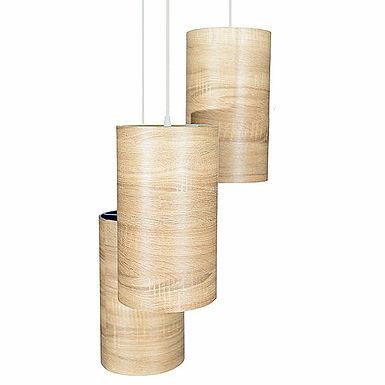 Cylinder Wood Parchment Pendant