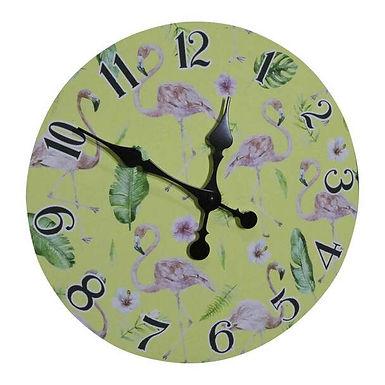 Wall Clock - Flamingos And Leaves